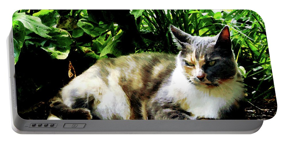 Cat Portable Battery Charger featuring the photograph Cat Relaxing In Garden by Susan Savad