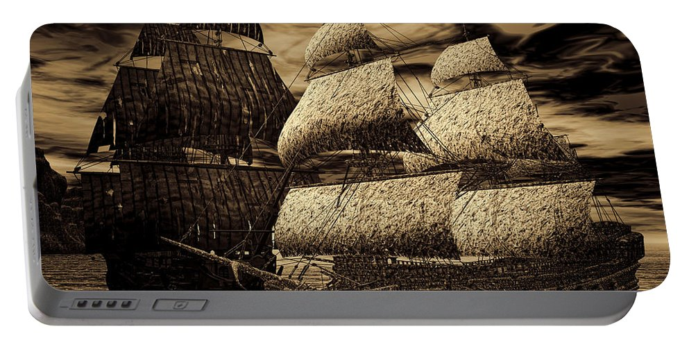 Black Pearl Portable Battery Charger featuring the photograph Catastrophic Collision-sepia by Lourry Legarde