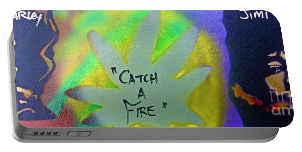 Hip Hop Portable Battery Charger featuring the painting Catch A Fire by Tony B Conscious