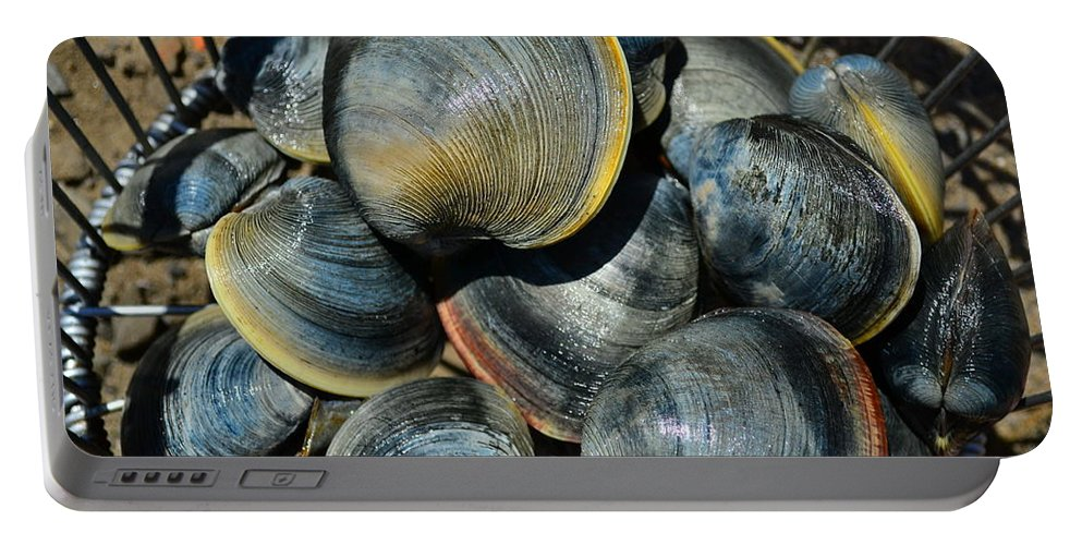 Clam Portable Battery Charger featuring the photograph Catch Of The Day by Bonnie Myszka