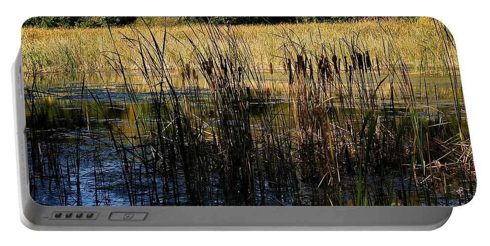 Outdoors Portable Battery Charger featuring the photograph Cattail Duck Cover by Susan Herber