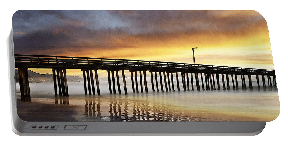 Cayucos Portable Battery Charger featuring the digital art Cayucos Pier Reflected by Sharon Foster