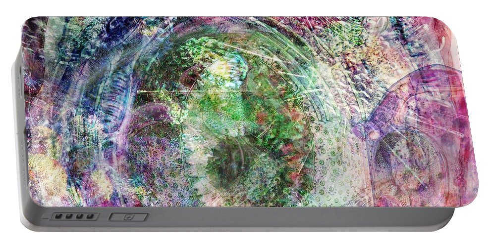 Abstract Portable Battery Charger featuring the digital art Cell Dreaming 2 by Russell Kightley