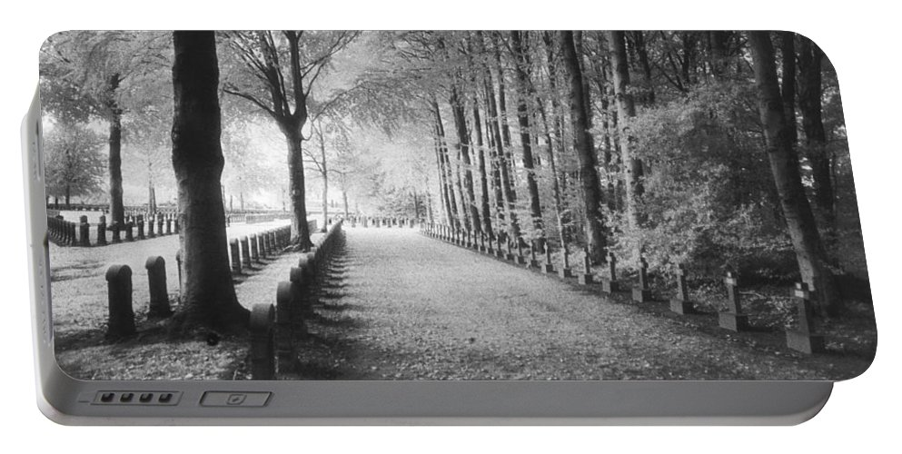 World War I; One; Wwi; Ww1; 1st; First; Great; 1; Wooded; Woods; Wood; Rows; Tombstones; Gravestones; War Tomb Portable Battery Charger featuring the photograph Cemetery At Ypres by Simon Marsden
