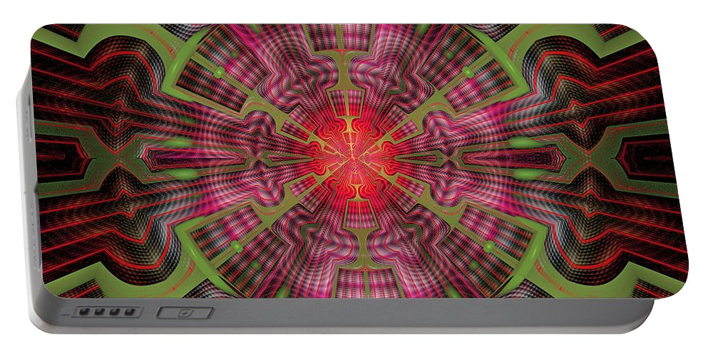 Fractal Portable Battery Charger featuring the digital art Center Point by Sandy Keeton