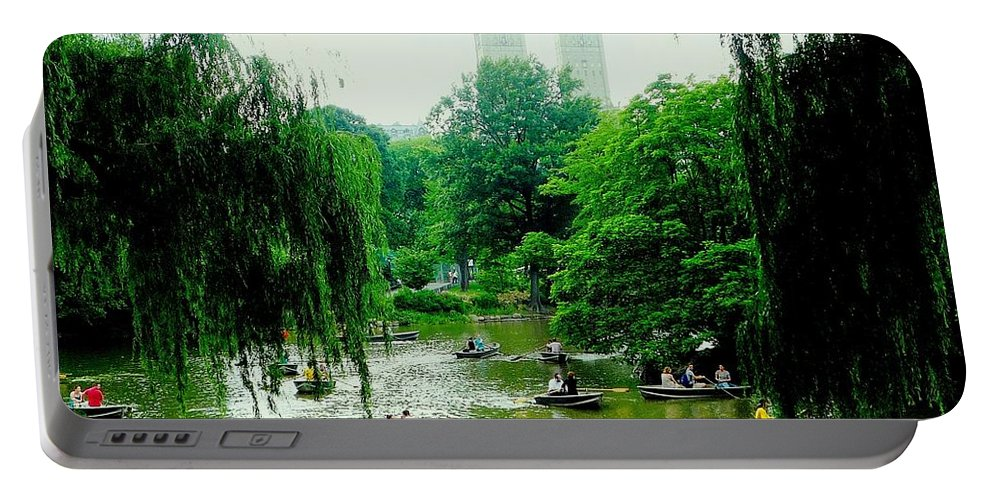 Central Park Portable Battery Charger featuring the photograph Central Park Pond by Valentino Visentini