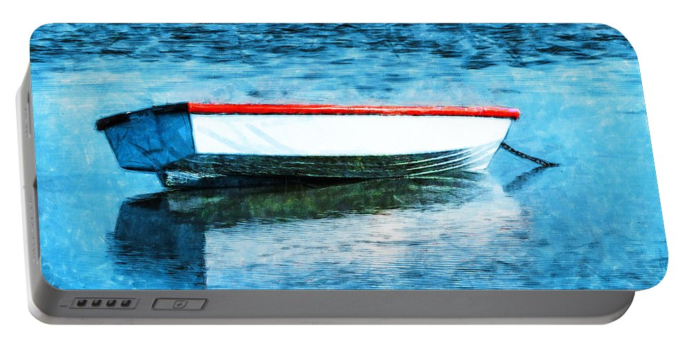 Boat Portable Battery Charger featuring the photograph Chained By The Tide by Steve Taylor