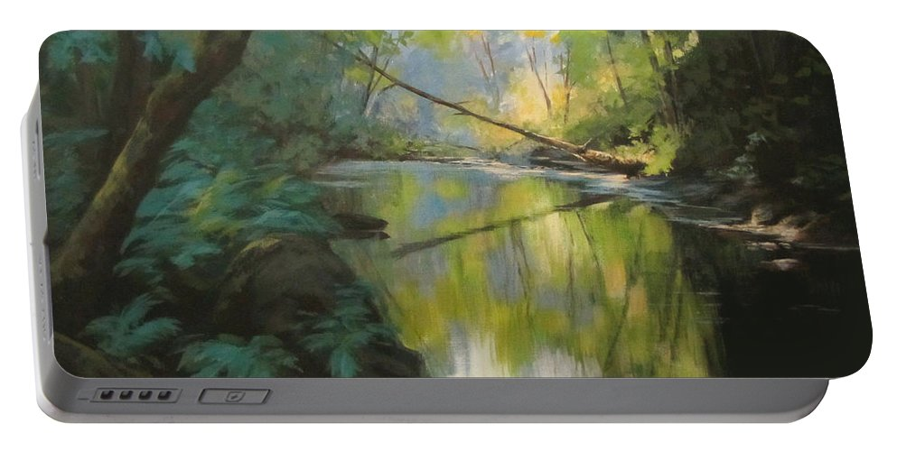 Landscape Portable Battery Charger featuring the painting Champagne Creek by Karen Ilari