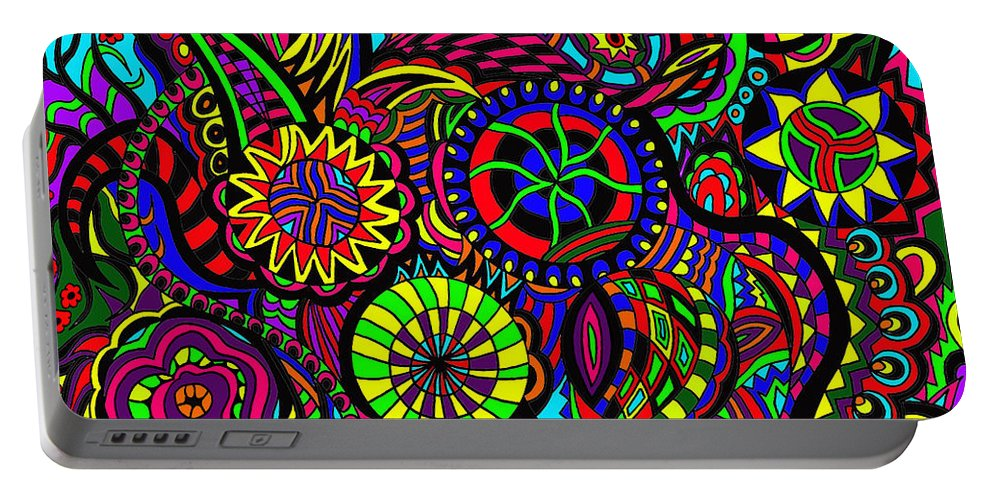 Life Portable Battery Charger featuring the painting Changing Life by Karen Elzinga