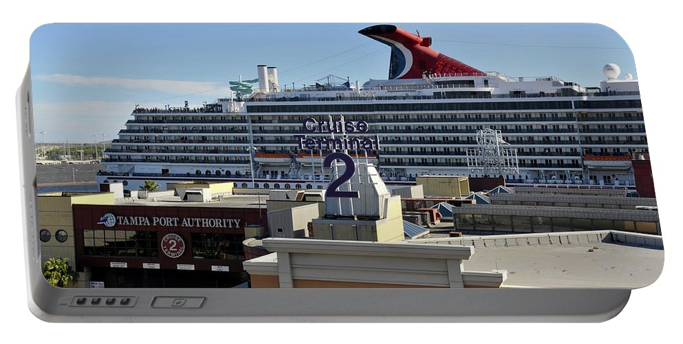 Cruise Ship Portable Battery Charger featuring the photograph Channelside Tampa by David Lee Thompson