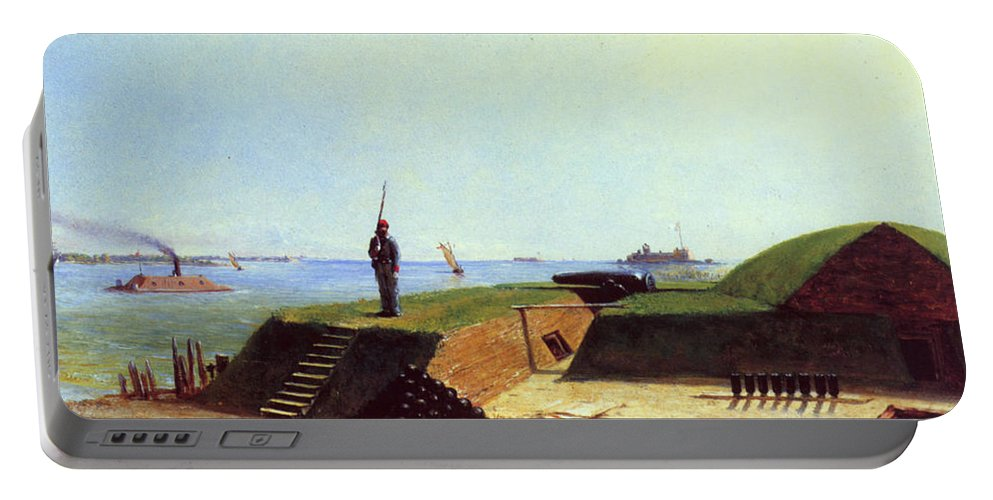 1864 Portable Battery Charger featuring the photograph Charleston Battery, 1864 by Granger