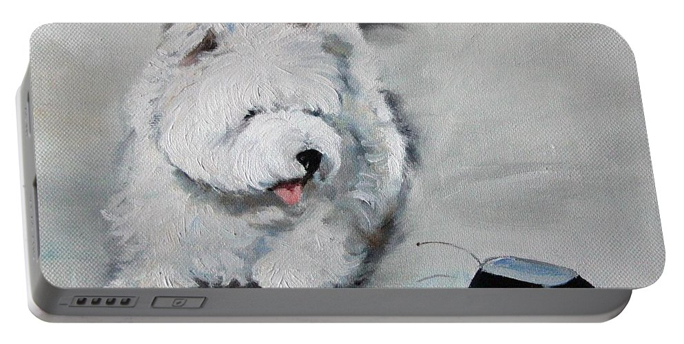 Art Portable Battery Charger featuring the painting Chasing Cars by Mary Sparrow