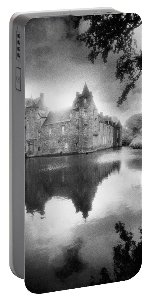 Architecture; French; Medieval; Castle; Palace; Moat; Moated Fort; Fortress; Towers; Misty; Reflection; Exterior; Facade Portable Battery Charger featuring the photograph Chateau De Trecesson by Simon Marsden