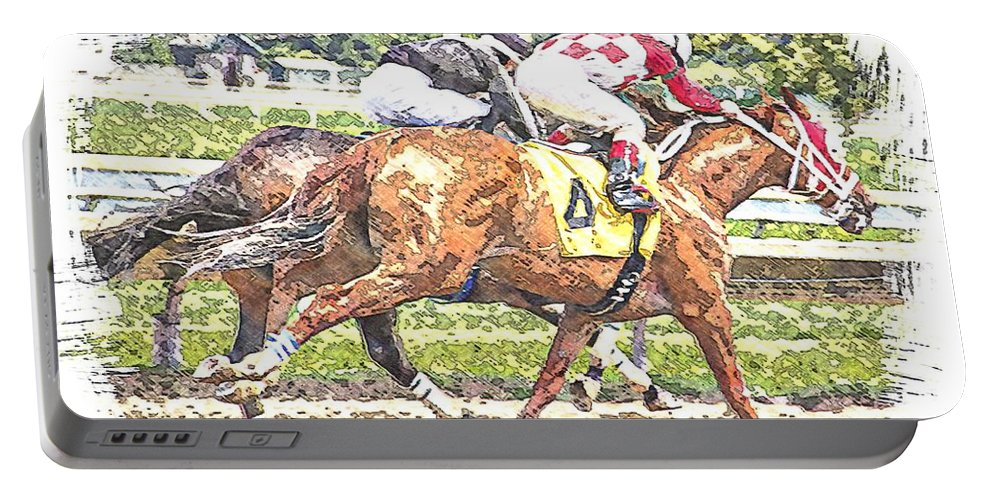 Horse Race Racing Abstract Jockeys Portable Battery Charger featuring the photograph Checkers by Alice Gipson