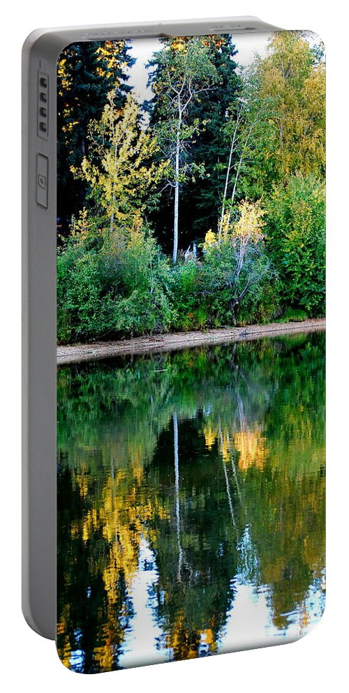 Chena Portable Battery Charger featuring the photograph Chena River View by Kathy Sampson