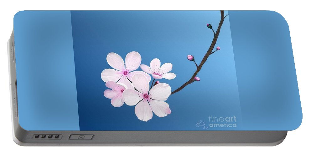 Flowers Portable Battery Charger featuring the painting Cherry Blossoms by Rand Herron