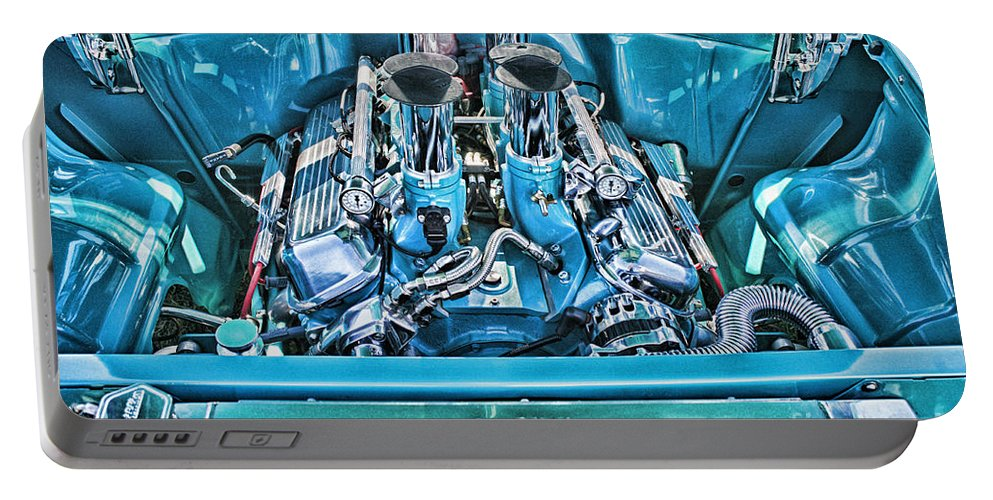 Cars Portable Battery Charger featuring the photograph Chevy Engine Hdr by Randy Harris