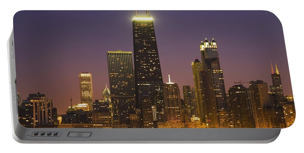 Horizontal Portable Battery Charger featuring the photograph Chicago Skyscrapers With John Hancock by Axiom Photographic