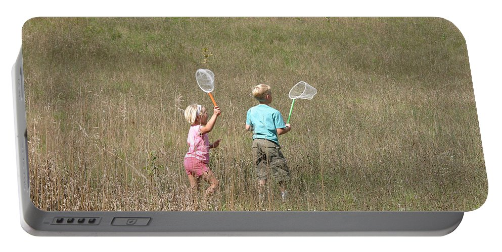 Science Portable Battery Charger featuring the photograph Children Collecting Insects by Ted Kinsman