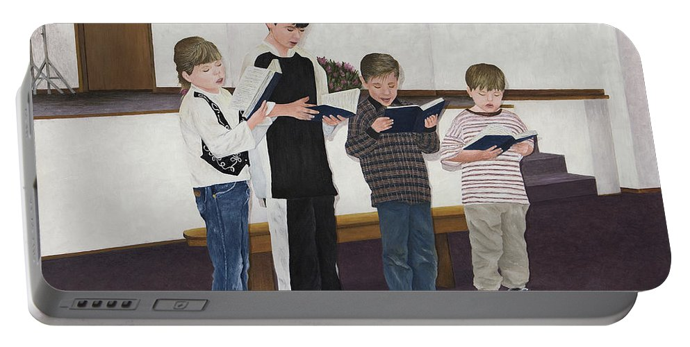 Children Paintings Portable Battery Charger featuring the painting Children Sing Praise by Mary Ann King