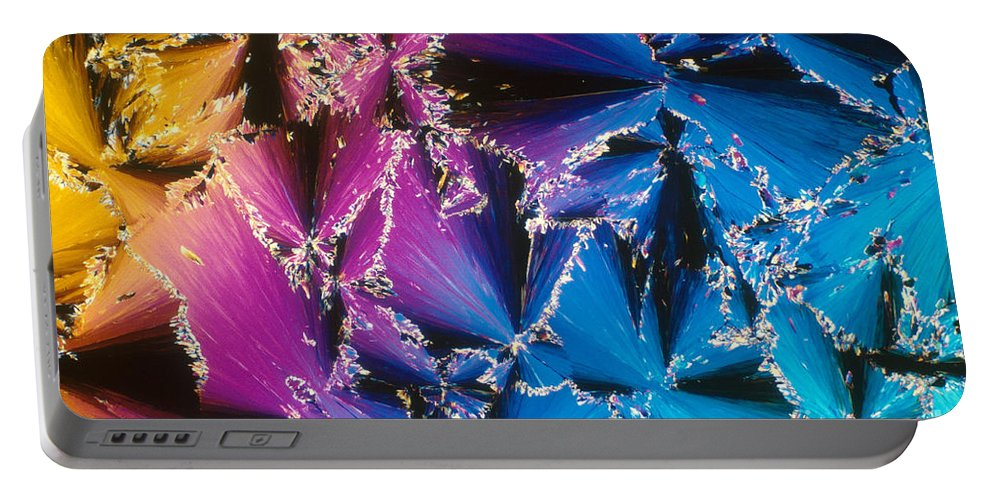 Chemistry Portable Battery Charger featuring the photograph Cholesteryl Benzoate Crystal by Michael W. Davidson