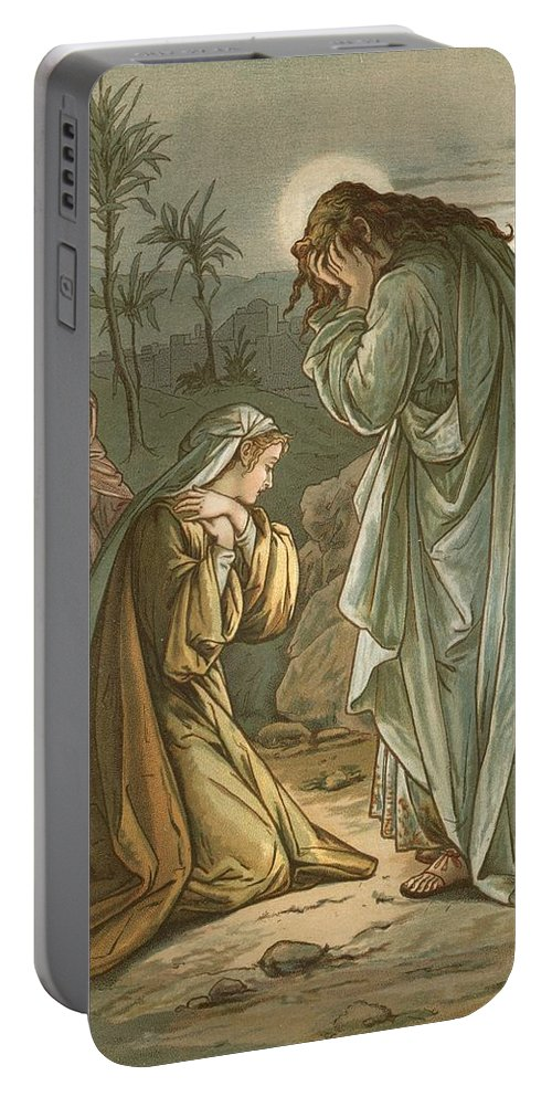 Bible; Jesus Christ; Garden Of Gethsemane; Jerusalem; Prayer; Weeping Portable Battery Charger featuring the painting Christ In The Garden Of Gethsemane by John Lawson