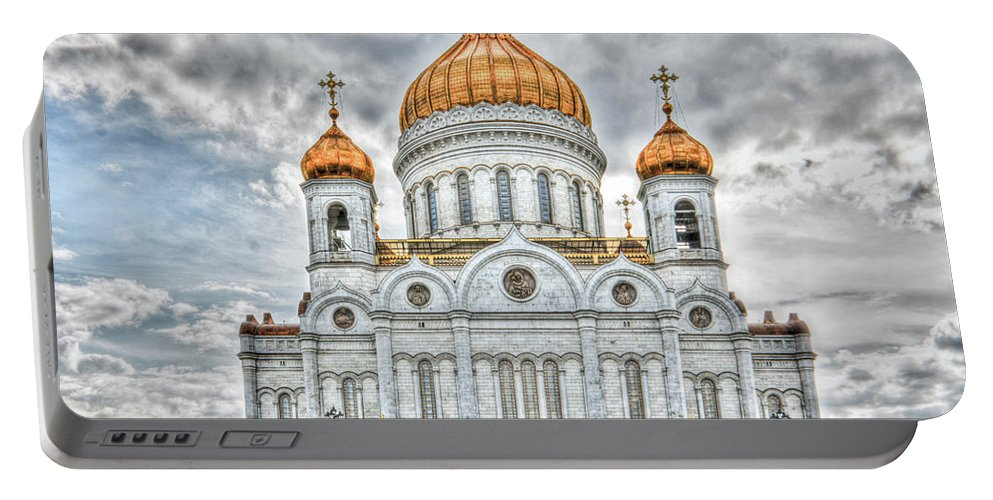 Hdr Portable Battery Charger featuring the photograph Christ The Saviour Cathedral In Moscow. The Main Entrance by Michael Goyberg