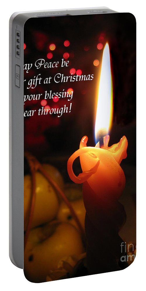 Christmas Candle Portable Battery Charger featuring the photograph Christmas Candle Peace Greeting by Ausra Huntington nee Paulauskaite