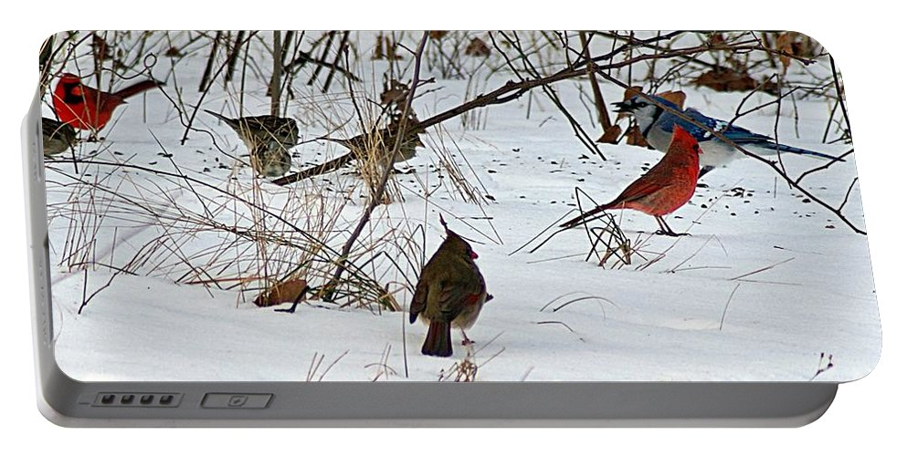 Cardinal Portable Battery Charger featuring the photograph Christmas Feast by Joe Faherty