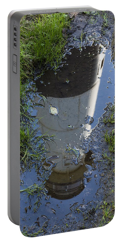 Reflection Portable Battery Charger featuring the photograph Christmas Range Light Reflection 1 by John Brueske