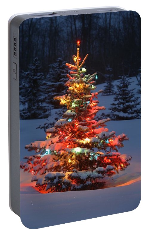 Portable Christmas Lights.Christmas Tree With Lights Outdoors In Portable Battery Charger