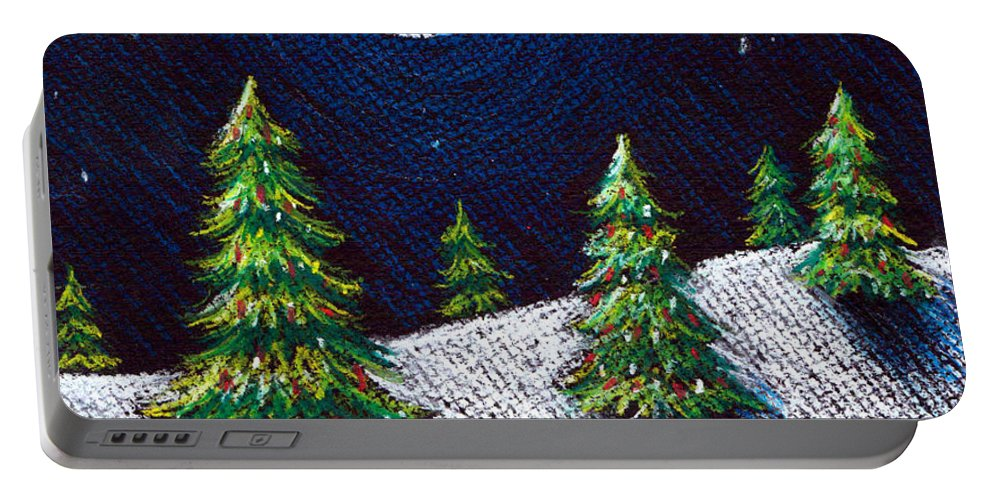 Pastels Portable Battery Charger featuring the drawing Christmas Trees II by Nancy Mueller