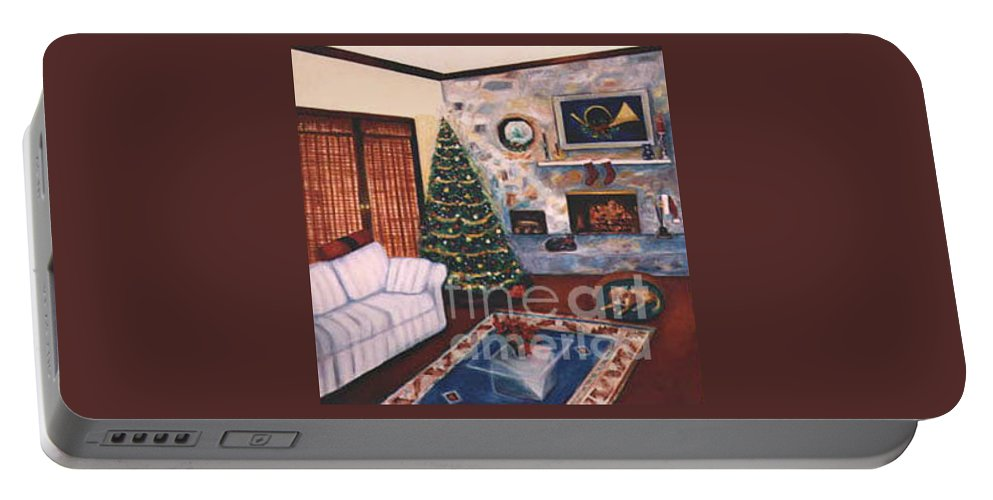 Christmastime Portable Battery Charger featuring the painting Christmastime by Karen Francis