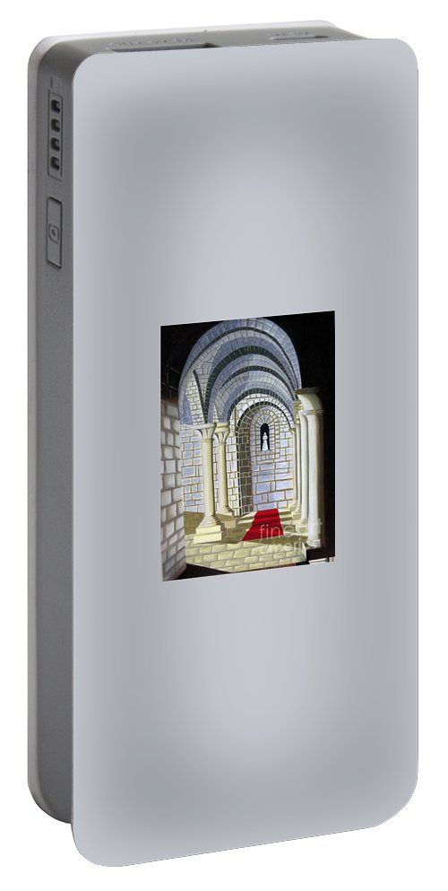 Church Altar Portable Battery Charger featuring the painting Church Altar by Don Monahan