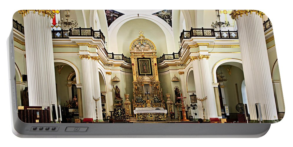 Church Portable Battery Charger featuring the photograph Church Interior In Puerto Vallarta by Elena Elisseeva