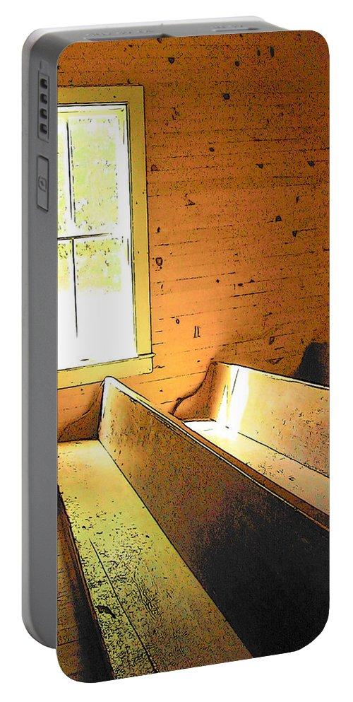 Rebecca Korpita Portable Battery Charger featuring the photograph Church Pews - Light Through Window by Rebecca Korpita