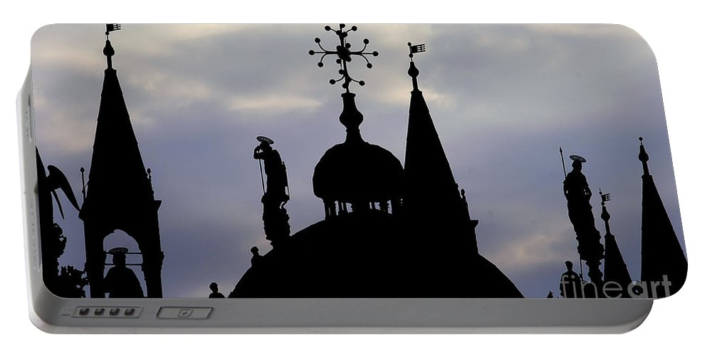 Church Portable Battery Charger featuring the photograph Church Spires Silhouettes by Mike Nellums