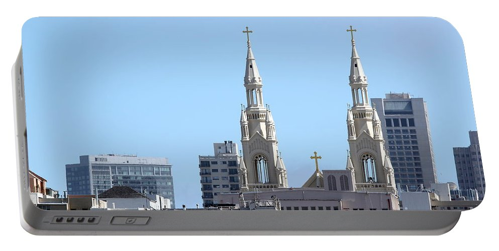San Portable Battery Charger featuring the photograph Church Top San Francisco by Henrik Lehnerer