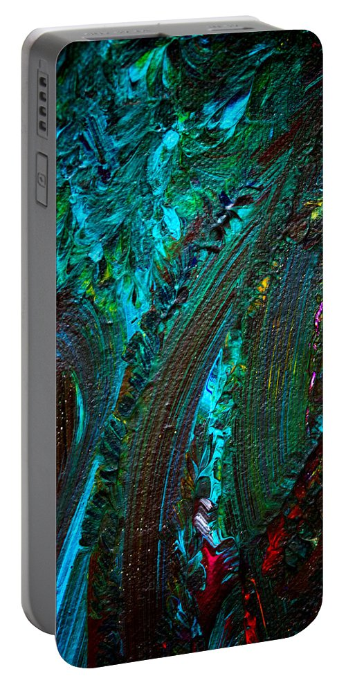 Abstract Acrylic Portable Battery Charger featuring the painting Churning by Marie Jamieson