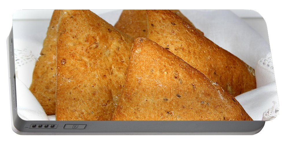 Ciabatta Buns Portable Battery Charger featuring the photograph Ciabatta Buns In A Basket by Barbara Griffin