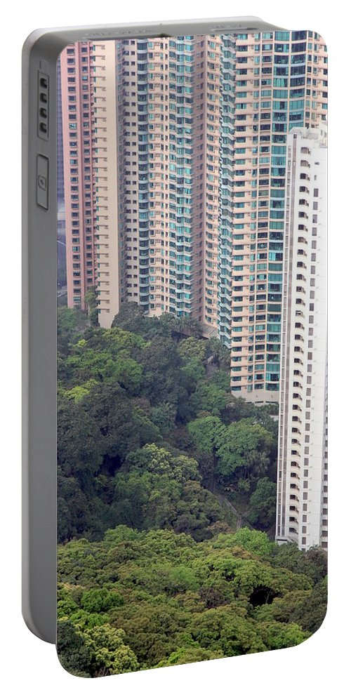 City Portable Battery Charger featuring the photograph City Versus Nature by Valentino Visentini