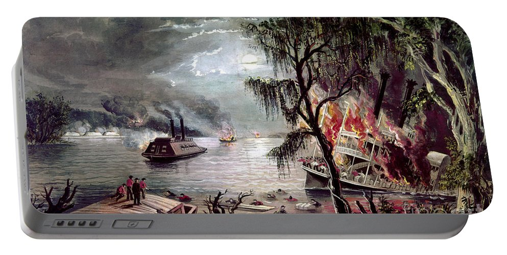 1862 Portable Battery Charger featuring the photograph Civil War: Naval Battle by Granger