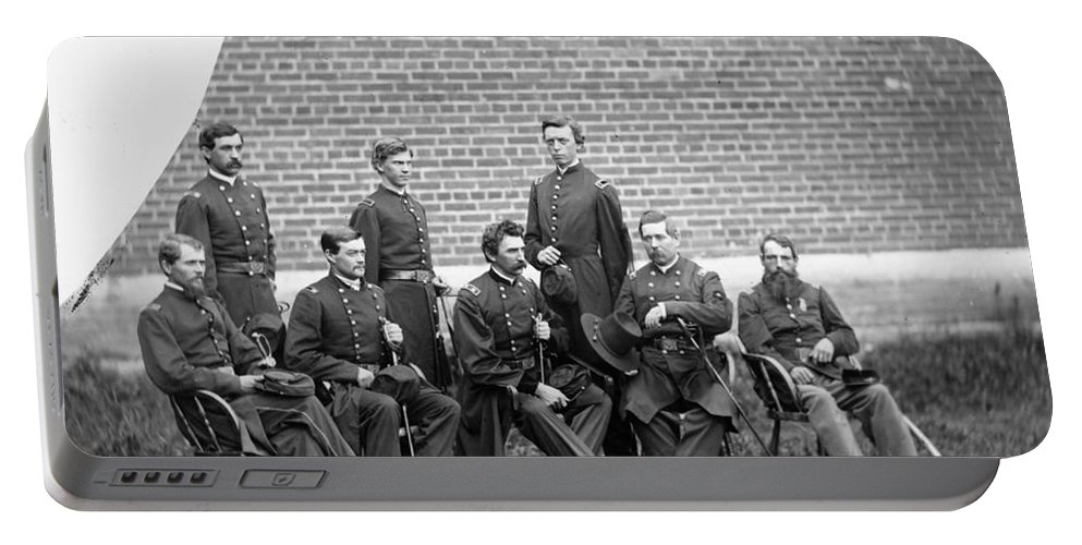1863 Portable Battery Charger featuring the photograph Civil War Officers by Granger