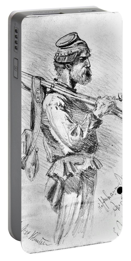 1863 Portable Battery Charger featuring the photograph Civil War Soldier, 1863 by Granger