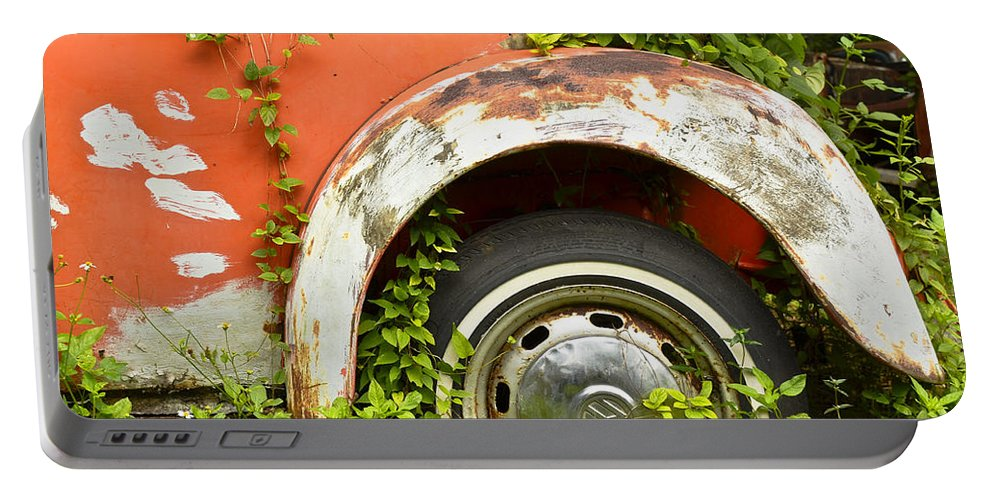 Volkswagen Portable Battery Charger featuring the photograph Classic Car Forgotten by Carolyn Marshall