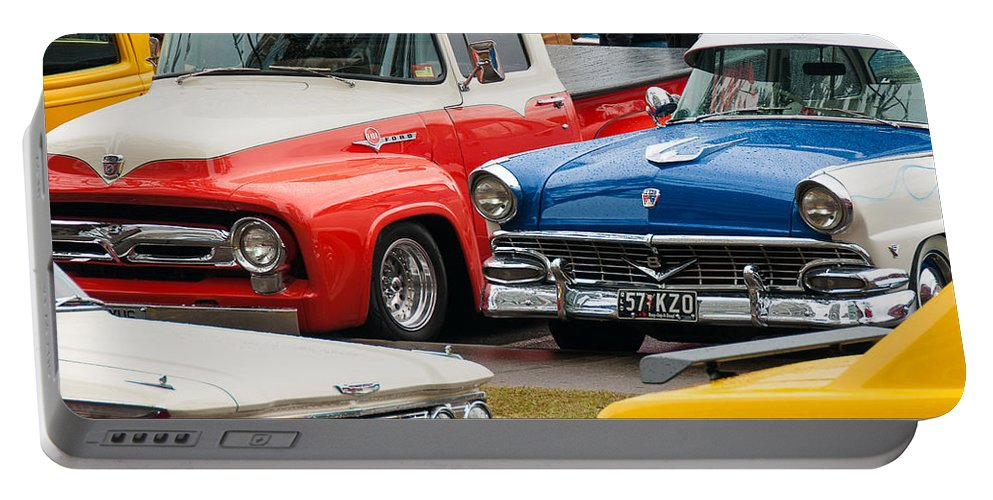 Cooloongatta Portable Battery Charger featuring the photograph Classic Cars by John White