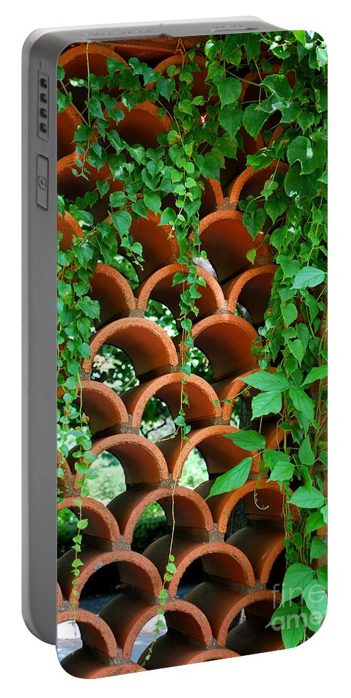 Clay Portable Battery Charger featuring the photograph Clay Pattern Wall With Vines by Nancy Mueller
