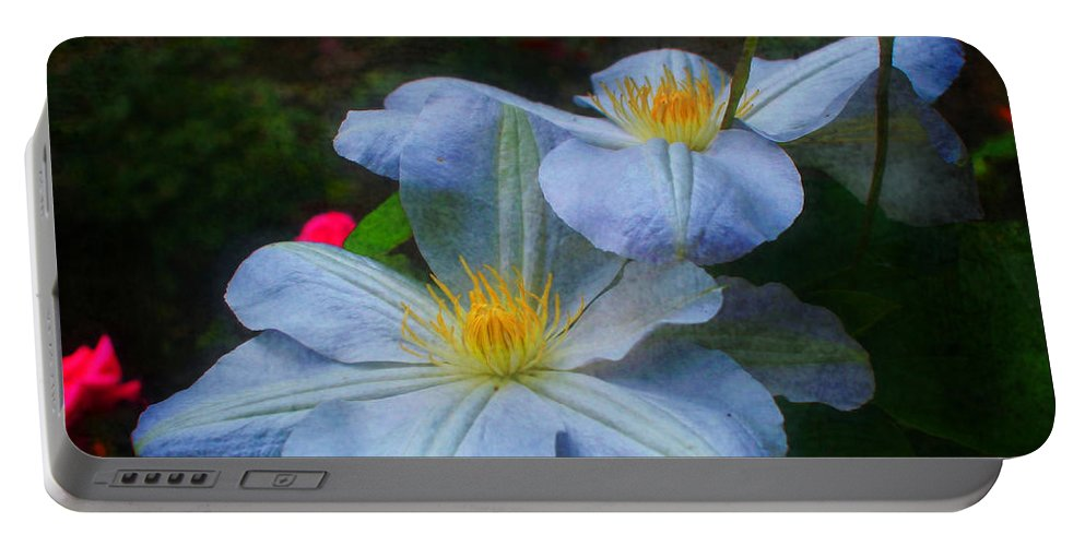 Flower Portable Battery Charger featuring the photograph Clematis Altered by Smilin Eyes Treasures