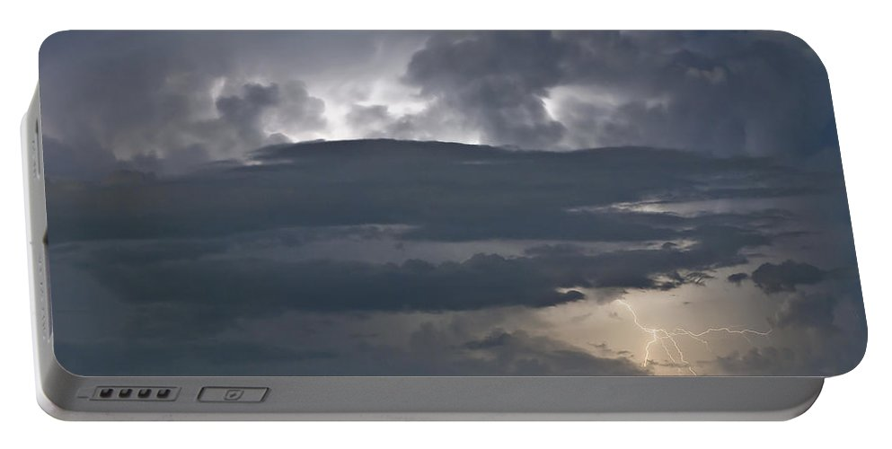 Lightning Portable Battery Charger featuring the photograph Cloudy Horizon by Stephen Whalen