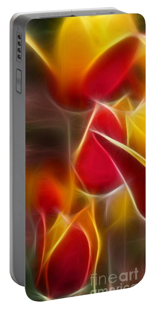 Cluisiana Portable Battery Charger featuring the digital art Cluisiana Tulips Triptych Panel 1 by Peter Piatt